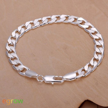 Unique Style Flat Silver Plated Chain Bracelet (Color: Silver) = 1841462468