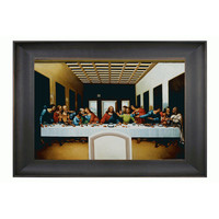 OverstockArt LDV2033-FR-939324X36 The Last Supper with by Leonardo Da Vinci: 36 x 24 Oil Painting Reproduction with Bronze Scoop Frame
