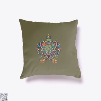 The Colorful Turtle, Sea Turtles Throw Pillow Cover