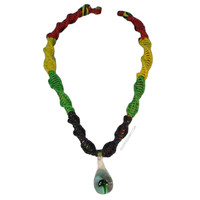Rasta Cord Mushroom Necklace on Sale for $12.99 at HippieShop.com
