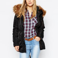 Esprit Parka With Faux Fur Hood