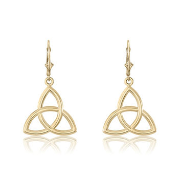 Trinity Knot 10K Drop Earrings on French Hooks – Triquetra – Father Son Holy Ghost – Maiden Mother Crone - Love Honor Respect – Celtic Knot