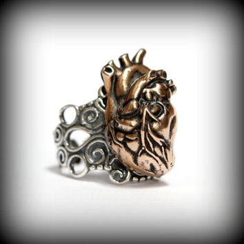 Anatomical Heart Ring in Solid Bronze on Adjustable Silver Filigree Ring Band Heart Ring