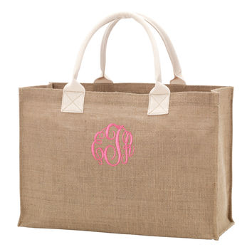 Burlap Tote Bag with Monogram