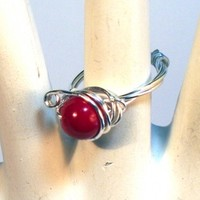Red Glass Wire Wrapped Ring Size 6 | Meylah