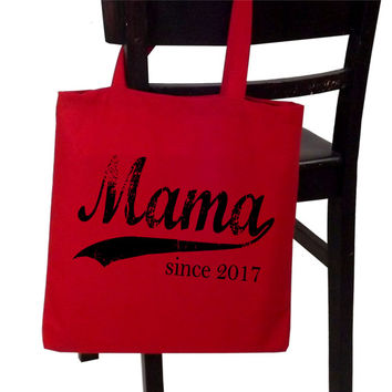 Mama since ANY year, screen print tote, Mothers Day gift, personalized for her, mama tote bag, new mom gift, gifts for mom