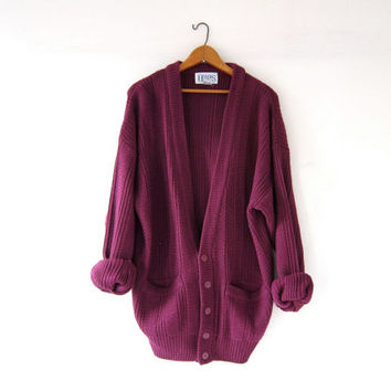 20% OFF SALE vintage oversized cardigan sweater. purple long sweater. button up pocket sweater. boyfriend sweater