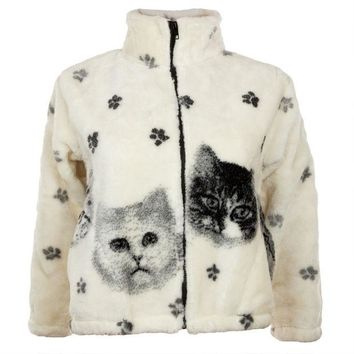 DCCKJY1 Kittens and Paw Prints Full Zip Sherpa Fleece Fitted Juniors Jacket