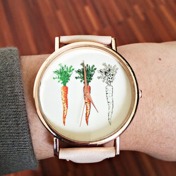 Carrot Watch, Women Watches, Watches for Women, Vegan Jewelry, Leather Watch, Vintage Style, Vegan Gift, Accessories, Cute Watches Freeforme