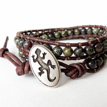 Hipster style earthy bloodstone leather 2x wrap bracelet with oval Australian gecko button, southwestern, sundance, boho chic
