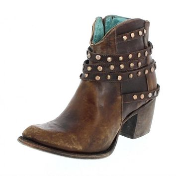 Corral Brown Studded Strapped Ankle Boots C2993