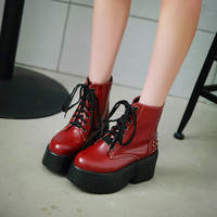 Lace Up Studded Boots Women Wedges Platform Shoes Fall|Winter 9429