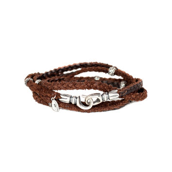 Braided 4 Layer Leather Wrap & Silver Bead Bracelet - M. Cohen