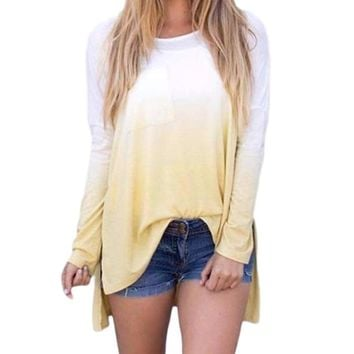 Women's Ombre Yellow/White Long Sleeve Ombre Color T-Shirt Top