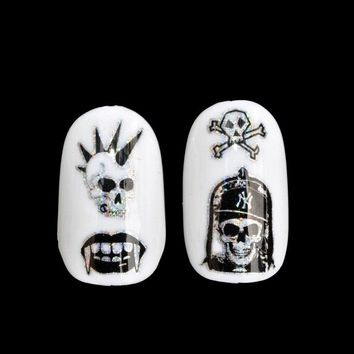 Nail Sticker for King Skull Head Cute Halloween Skull Head Punk Style Zombie Design Decoration