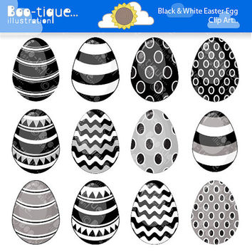 Easter Eggs Clipart. Easter Clip Art for Instant Download. Black and White Easter Egg Clip Art. Black and White Clipart. Spring Clipart