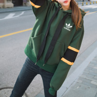 """Adidas"" Women Sport Casual Letter Multicolor Stripe Long Sleeve Hooded Sweater Sweatshirt Tops"