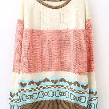 Cute Bowknot Pattern Mixed Colors Sweater