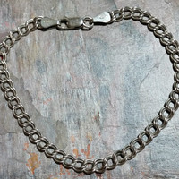 8 Inch Chain Bracelet Double Curb Chain Charm Bracelet Starter Chain 925 Italy Italian Silver 4.5 mm Wide Shiny Silver Durable Chain Clasp