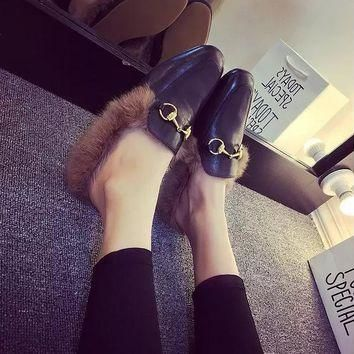 Fur Loafers 2017 Chain Slippers Winter Platform Shoes Woman Slip On Flats Warm Creeper