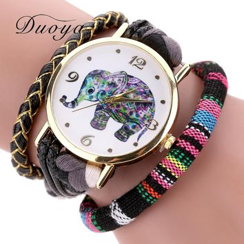 Duoya Gold Elephant Dress Ladies Leather Fashion Watches Luxury Watches 2017 Weave Band Luxury Bracelet Watch Quartz Clock