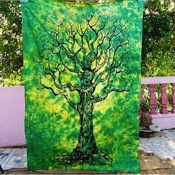 Boho Hippie Mandala Green Tree Tapestry Bedspread,  Beach Throw, Yoga Mat,  Home Decor 150*130c Polyester