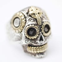 925 sterling silver Steampunk skull ring Statement Skull ring, Mens Bi