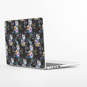 Victorian Flora in Blue Laptop Skin