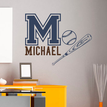 Initial Name Wall Decal Baseball Bat Sports Wall Decals Personalized Initial Name Monogram Nursery Kids Boys Teens Room Bedroom Decor M035