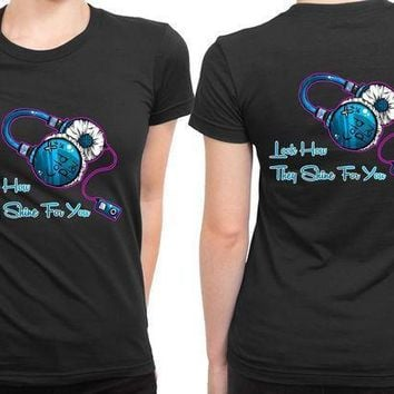 Coldplay Quote Headphone Fan Art 2 Sided Womens T Shirt