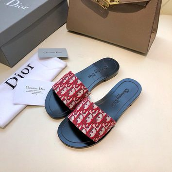 Dior LOGO Letter Sandals Flat-soled Slippers-13