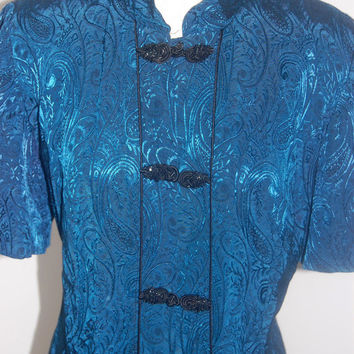 1990's R & M Richards by Karen Kwong / Navy Blue Asian Kimono style Dress / Robe / Size 14 W