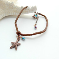 Leather Anklet Copper Starfish Charm Blue Beaded Summer Ankle Bracelet