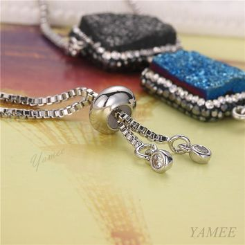 STYLEDOME Natural Druzy Stone Rectangle Drusy Bracelet Crystal Drusy Crystal Bangle For Women