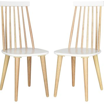 Burris Spindle Side Chair Natural / White (Set of 2)