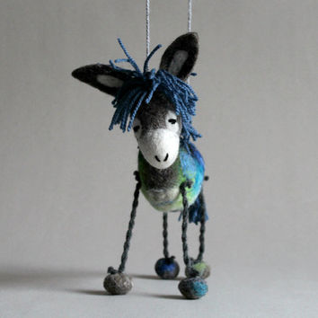 Nicanor - Felt Donkey. Art Toy. Felted Stuffed Marionette Puppet Handmade Animals Toys, grey blue green black . MADE TO ORDER.