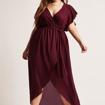 Plus Size Belted High-Low Dress