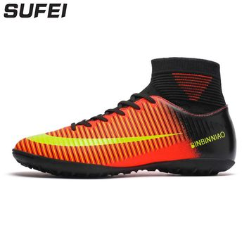 sufei 2018 Men Football Boots Superfly Soccer Shoes TF Turf High Top Kids Futsal Training Sock Cleats Size 35-45