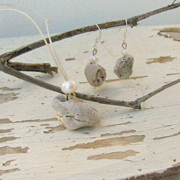 Sea Stone Jewelry, Stone of the sea, Pebble Necklace Set, Sea Rock Earrings, Natural Stone Pendant, Sea Gift, Set for women, Real Stone