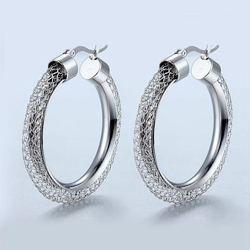 Net Round Pattern Hollow Hoop Earrings Brand Earrings For Women Jewelry Trendy Gold Color Earrings