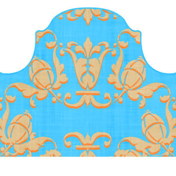 Headboard Wall Decal  - Adornaments - Orange and Turquoise - Twin  - Lite version