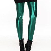 Green Shiny Metal Leggings