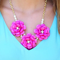 Barely Picked For You Necklace: Fuchsia | Hope's