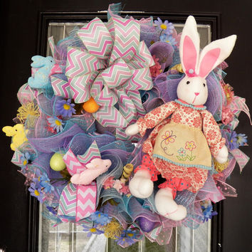 XL Easter Wreath- Deco Mesh Easter Wreath- Easter Decoration- Spring Wreath- Ruffle Wreath- Ready to Ship