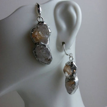 Double Portion - Rough Cut Quartz Crystals, Stained Glass Earrings, Lead-Free Solder, Sterling Silver, Stained Glass Earrings, OOAK, Boho