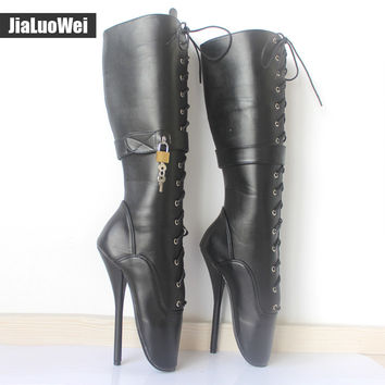 jialuowei New 18CM High Heel Sexy Fetish Punk Goth Pinup Slave Padlock Cross-tied Custom Color Ballet Knee-High Lockable Boots