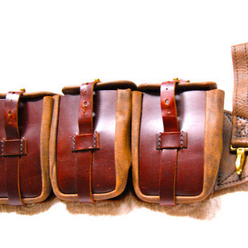 Steampunk Ammo Belt Pouch Brown Leather with by ExpressSteamWorks