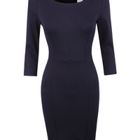 LE3NO Womens Classic Slim fit 3/4 Sleeve Bodycon Office Midi Dress