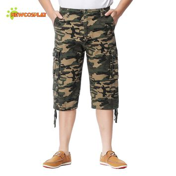 JINGCHENG Loose Bermuda Cargo Shorts Knee Length Men's Shorts Casual Homme Outwear Clothing 2017 Summer Plus Size Men's Clothing
