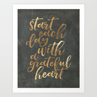 CHALKBOARD WALL ART, Start Each Day With A Grateful Heart,Thankful Heart,Motivational Quote,Inspirat Art Print by TypoHouse